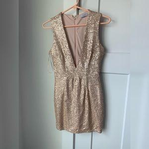 Blush color mini sequins dress